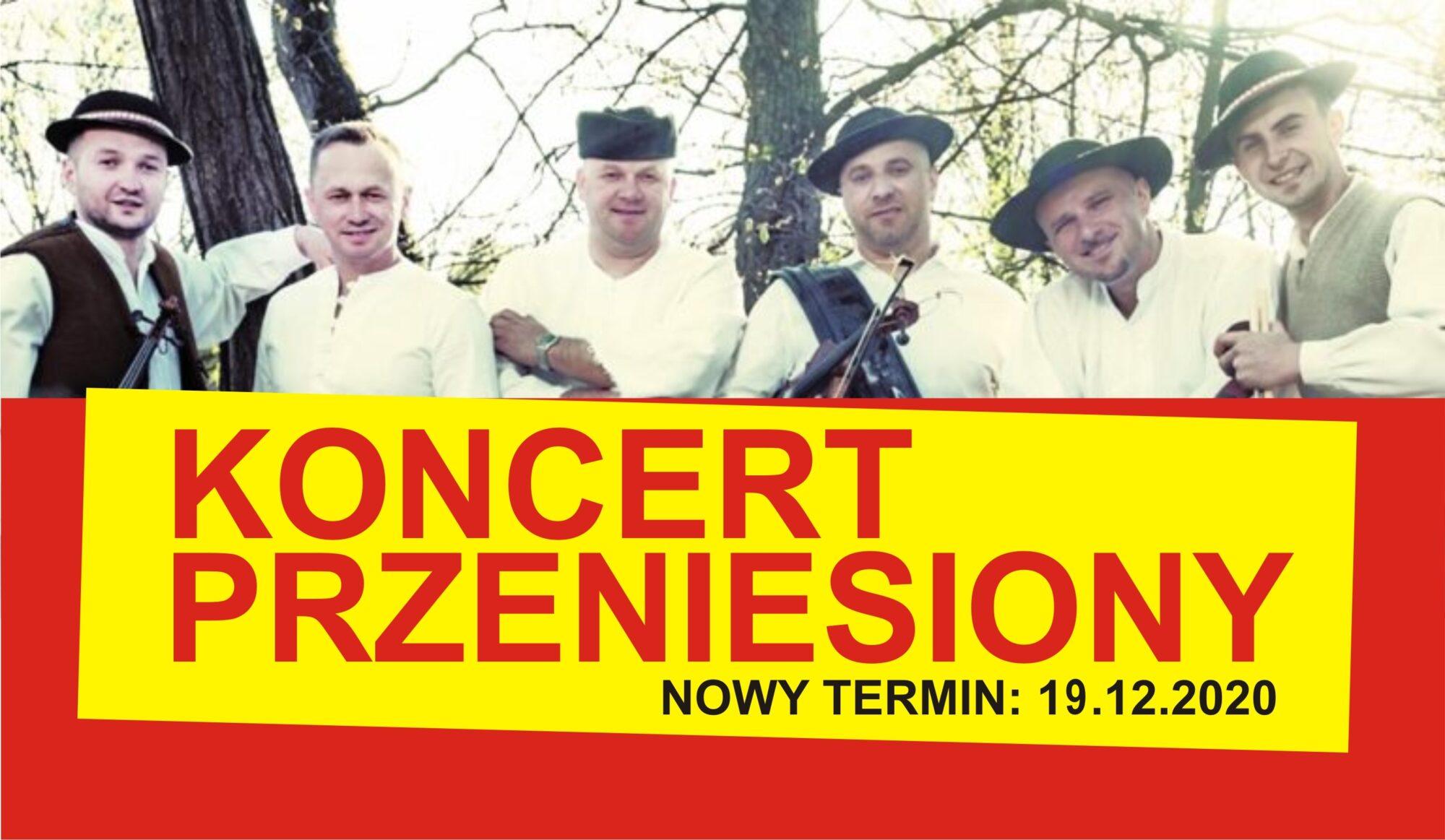 Zdjęcie przedstawia członków zespołu Baciary oraz informację o przeniesieniu koncertu