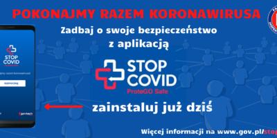 Niebieski baner informujący o aplikacji będącej dodatkową ochroną przed koronawirusem