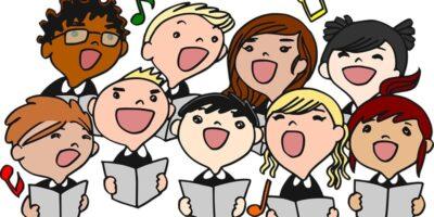 Dziewięcioro dzieci śpiewających