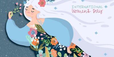 Postać kobiety przybranej w wiosenne kwiaty