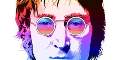 Grafika przedstawia Johna Lennona. Jego twarz pokryta jest różnymi barwami.