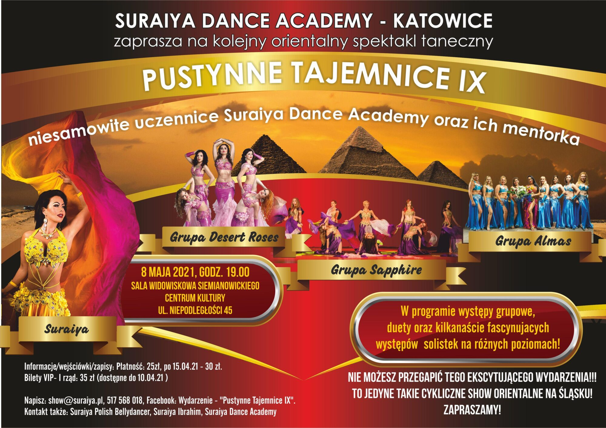 Kolorowy plakat spektaklu tanecznego Pustynne Tajemnice IX