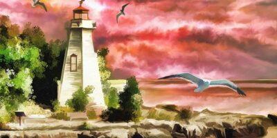 Zdjęcie przedstawia obraz latarni morskiej oraz mew nad brzegiem morza.