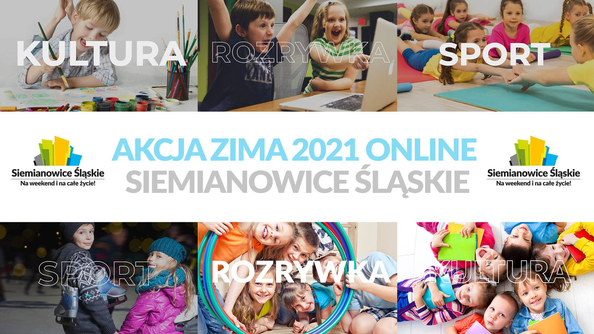Baner zapraszający dzieci do wspólnej zabawy podczas ferii zimowych on-line