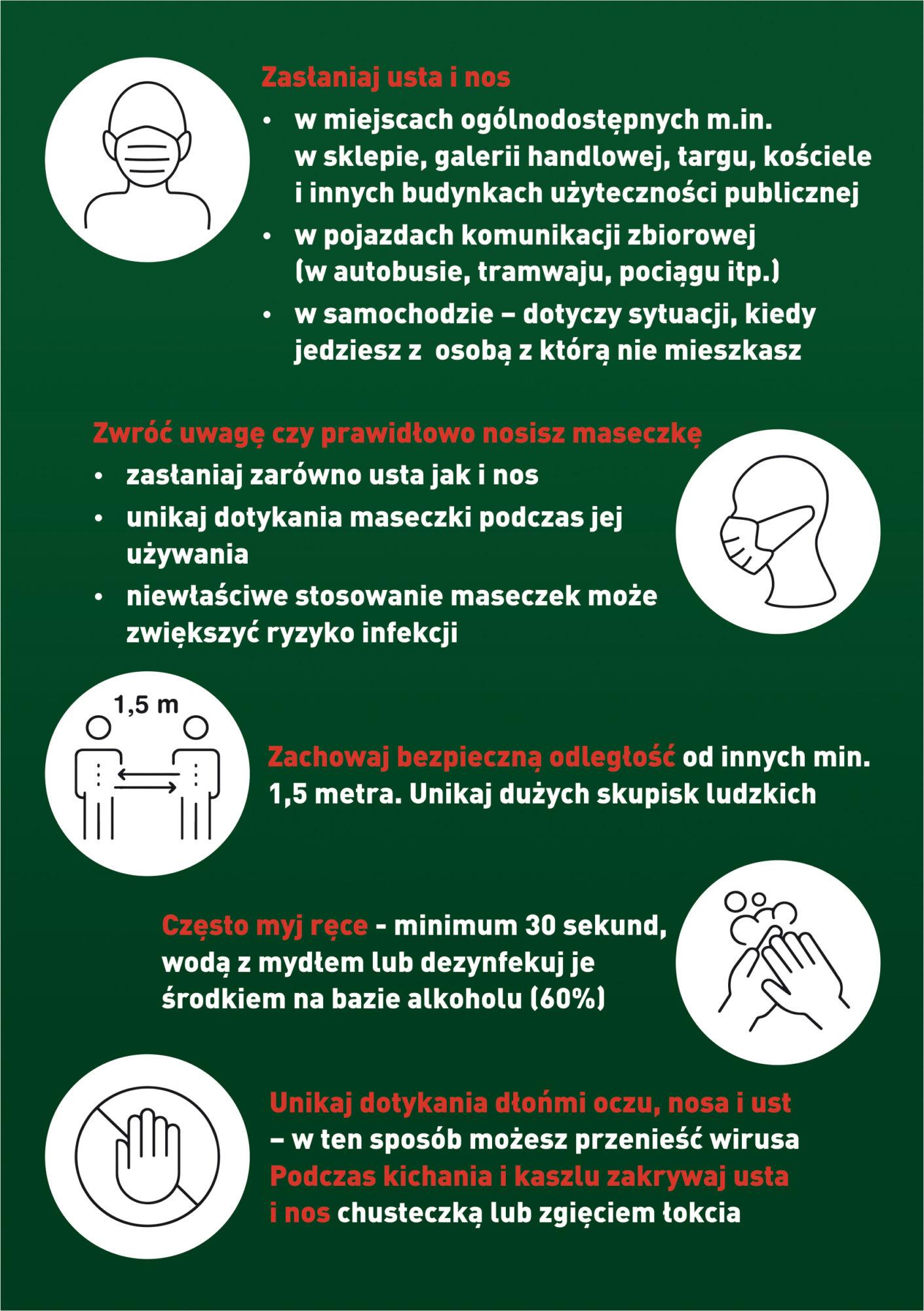 Piktogramy i zasady stosowania wytycznych dot. walki z Covid-19