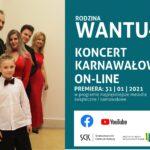 na plakacie rodzina Wantuła w wieczorowych strojach oraz zaproszenie na koncert świąteczny w ich wykonaniu