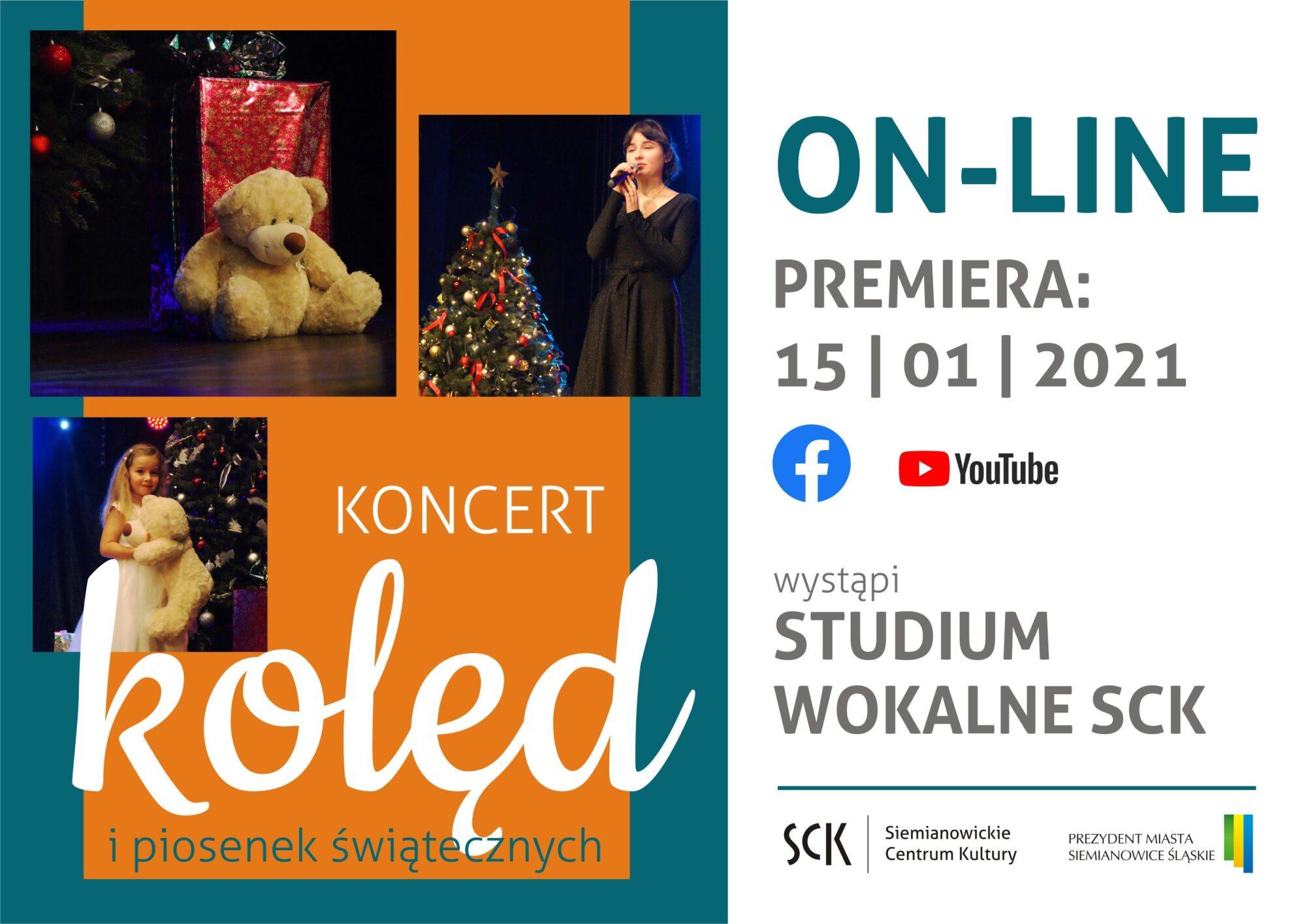 plakat internetowej premiery koncertu kolęd w wykonaniu studium wokalnego SCK