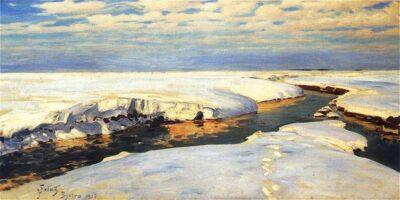 Reprodukcja obrazu Juliana Fałata pt. Krajobraz zimowy