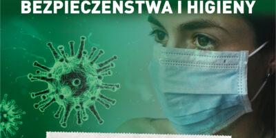Wizualizacja wirusa, twarz kobiety w maseczce oraz napis KORONAWIRUS PRZESTRZEGAJ PODSTAWOWYCH ZASAD BEZPIECZEŃSTWA I HIGIENY