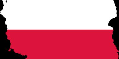 Zdjęcie przedstawia mapę Polski w biało-czerwonym kolorze