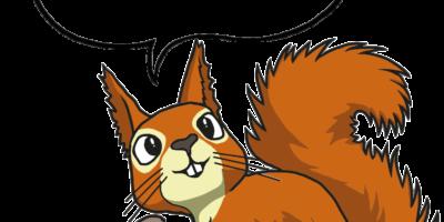 Rysunek przedstawia wiewiórkę trzymającą w łapkach zielonego żołędzia, nad głową unosi się komiksowa chmurka do wprowadzenia tekstu.