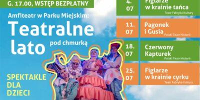 Kolorowy plakat informuje o spektaklach w ramach Teatralnego Lata pod Chmurką